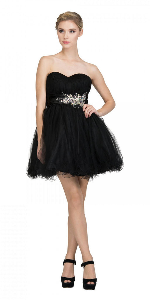 Starbox USA 595 Short Ruched Sweetheart Bodice Black A Line Prom Dress