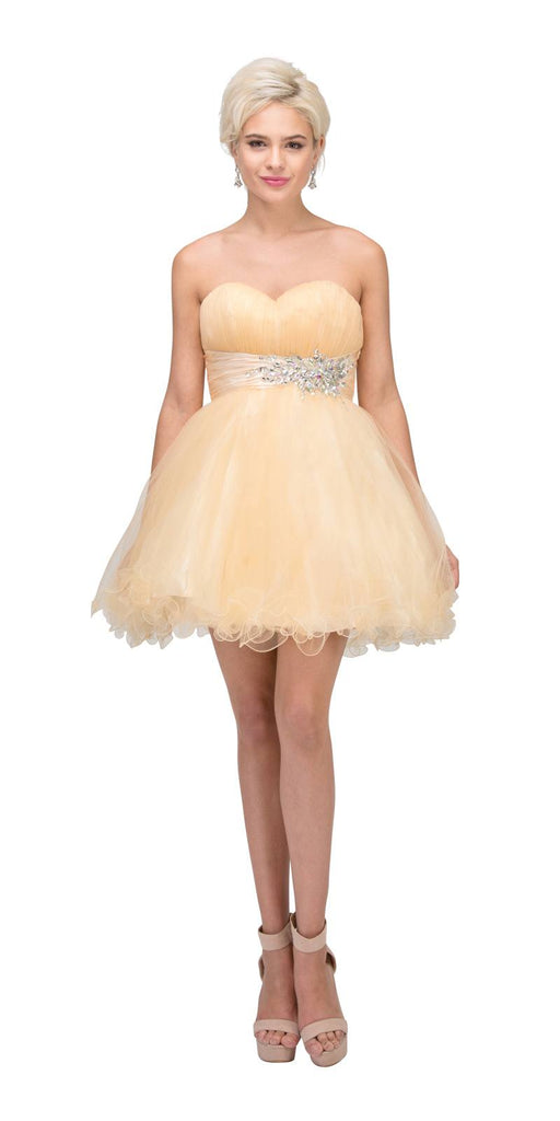 Starbox USA 595 Short Ruched Sweetheart Bodice Champagne A Line Prom Dress