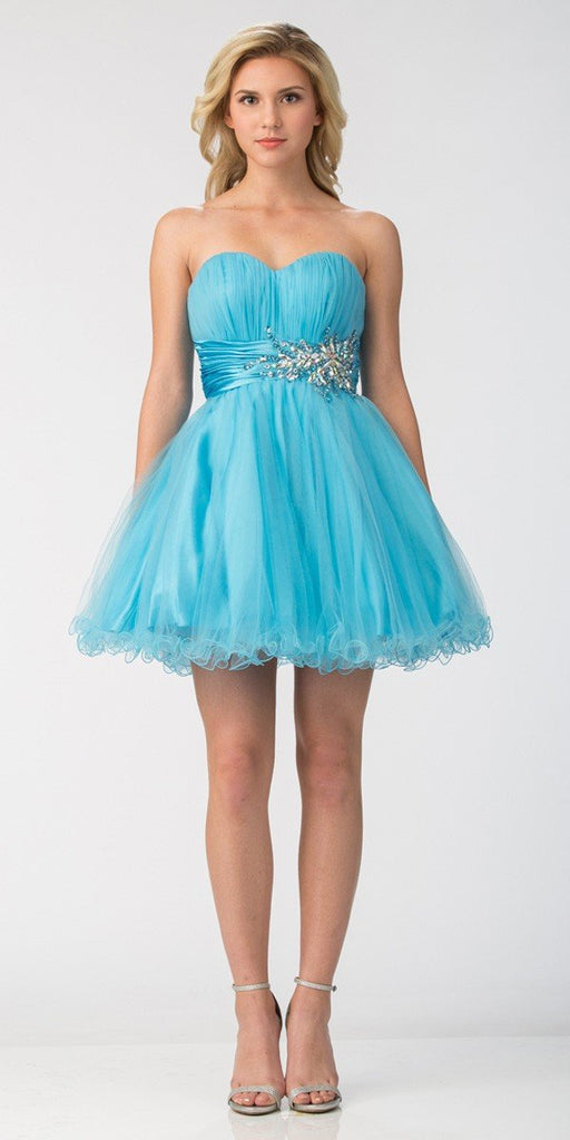 Starbox USA 595 Short Ruched Sweetheart Bodice Light Blue A Line Prom Dress