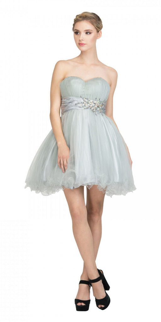 Starbox USA 595 Short Ruched Sweetheart Bodice Silver A Line Prom Dress