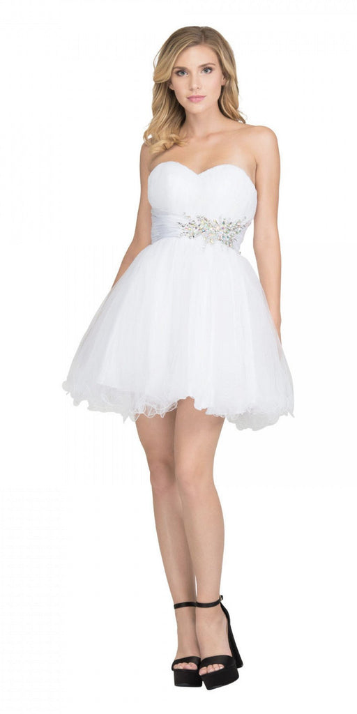 Starbox USA 595 Short Ruched Sweetheart Bodice White A Line Prom Dress