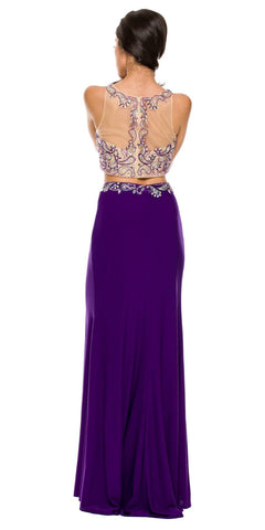 Sexy Front Slit 2 Piece Formal Dress Purple Beads Illusion Neck