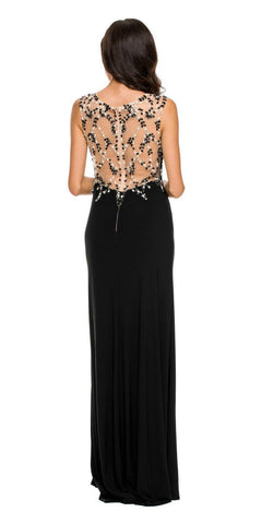 Sexy Formal Gown Black Long Front Slit Sleeveless Beads/Sequins