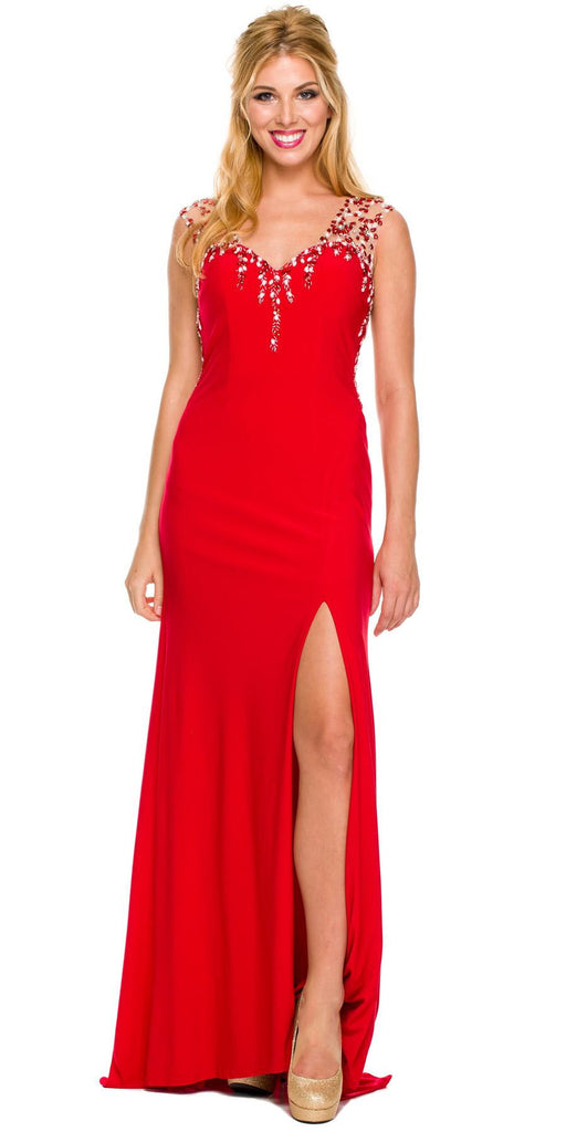 Sexy Formal Gown Red Long Front Slit Sleeveless Beads/Sequins