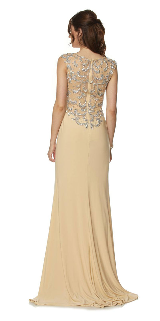Floor Length Formal Gown Gold ITY Cap Sleeve Rhinestones