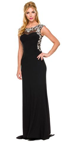 Floor Length Formal Gown Black ITY Cap Sleeve Rhinestones