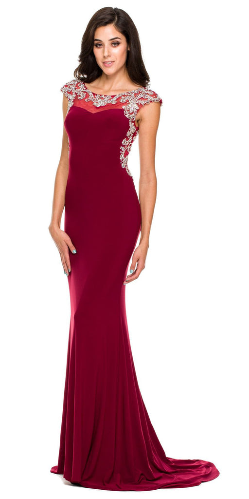 Floor Length Formal Gown Wine ITY Cap Sleeve Rhinestones