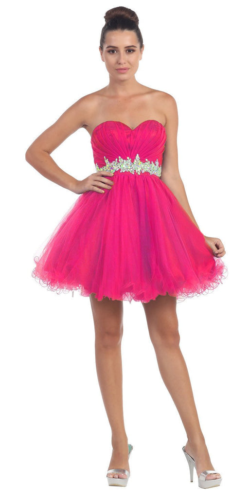 Ruched Bodice Studded Waist Fuchsia Short Poofy Homecoming Dress