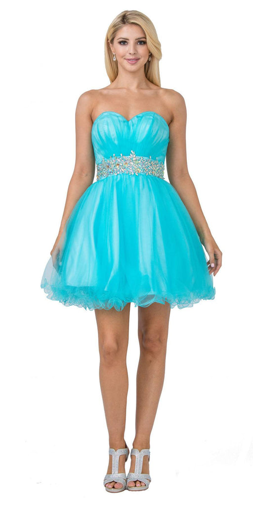 Starbox USA 598 Ruched Bodice Studded Waist Aqua Short Poofy Homecoming Dress