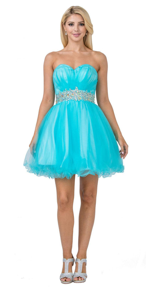 Ruched Bodice Studded Waist Aqua Short Poofy Homecoming Dress