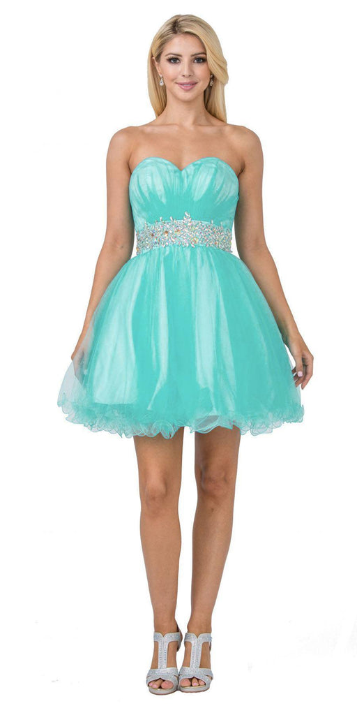 Ruched Bodice Studded Waist Mint Short Poofy Homecoming Dress