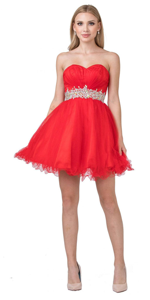 Ruched Bodice Studded Waist Red Short Poofy Homecoming Dress
