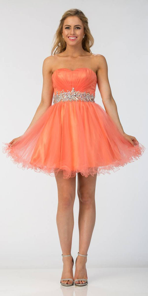 Ruched Bodice Studded Waist Coral Short Poofy Homecoming Dress