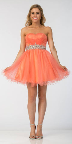 Starbox USA 598 Ruched Bodice Studded Waist Coral Short Poofy Homecoming Dress