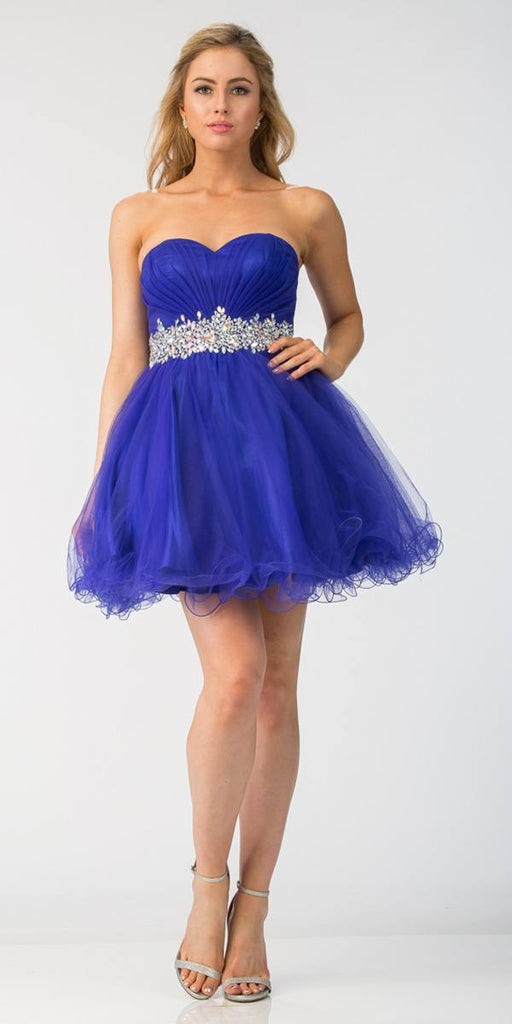 Ruched Bodice Studded Waist Royal Blue Short Poofy Homecoming Dress