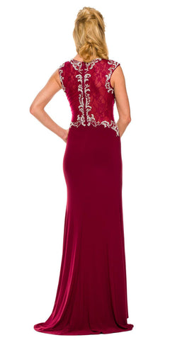 Sexy Front Slit Floor Length Gown Wine Rhinestone Cap Sleeve