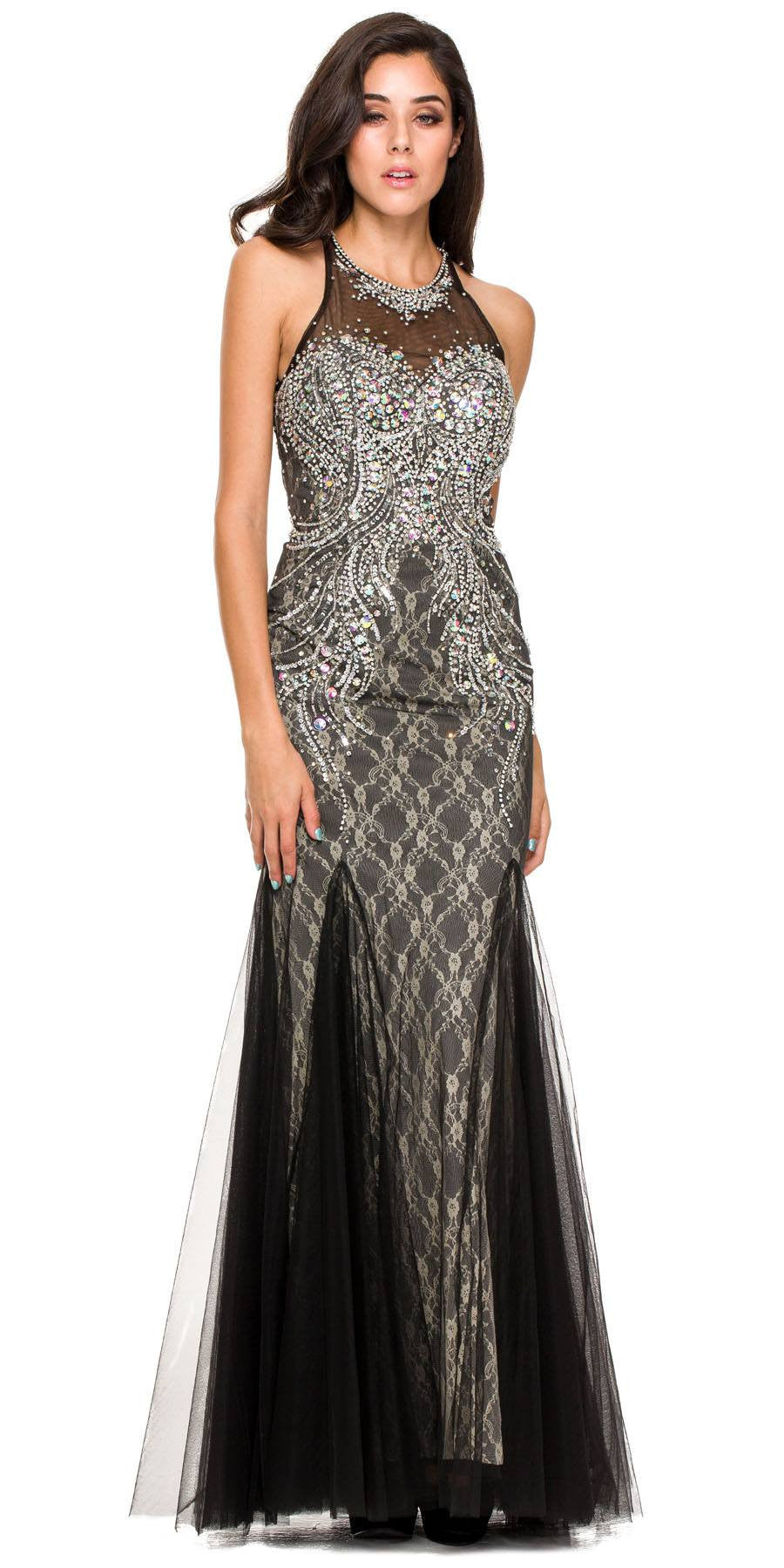 Long Formal Fish Tail Gown Black Mesh/Tulle Rhinestones