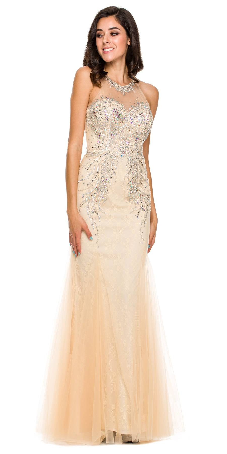 Long Formal Fish Tail Gown Champagne Mesh/Tulle Rhinestones