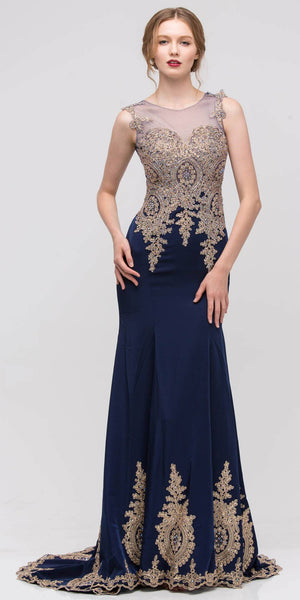 Turkish Bazaar Gown Navy  Embroidery Floor Length Classy