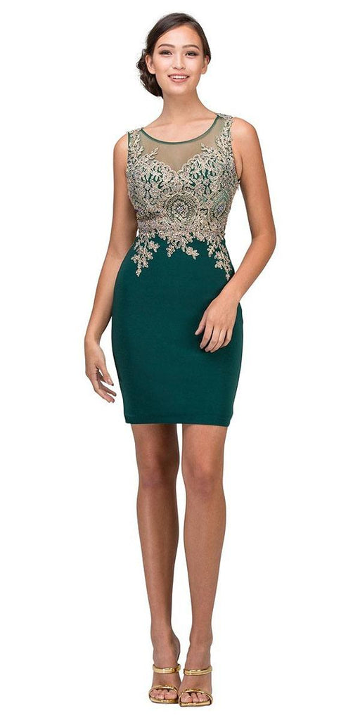Short Cocktail Sheath Dress Hunter Green Embroidery Bodice Sheer