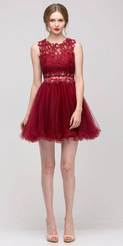 ON SPECIAL - LIMITED STOCK - Lace Up Back Red Dress Short Foiled/Metallic Top Ruffled Skirt