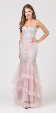 Eureka Fashion 6009 Strapless Embroidered Prom Gown Layered Skirt Sweetheart Neck Blush/Silver