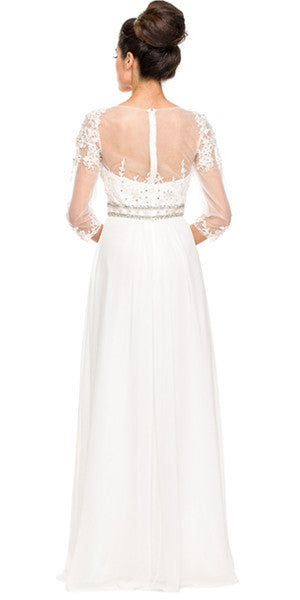 3/4 Length Sleeve Off White Formal Gown Illusion Neck Embroidery Back