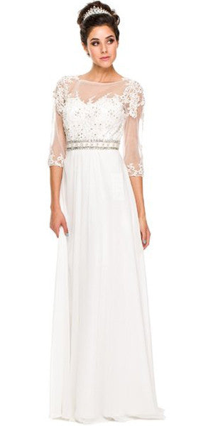 3/4 Length Sleeve Off White Formal Gown Illusion Neck Embroidery