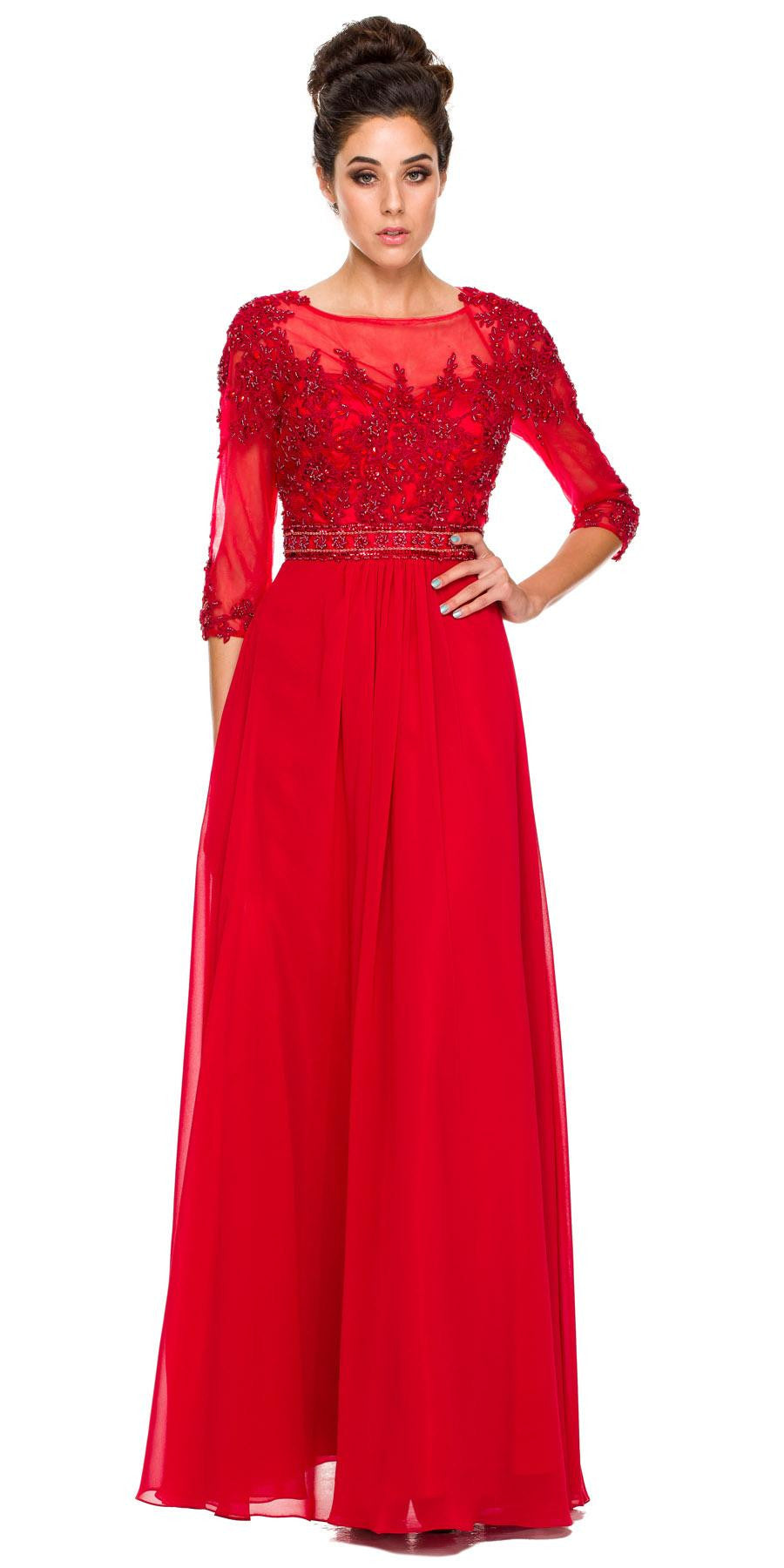 3/4 Length Sleeve Red Formal Gown Illusion Neck Embroidery