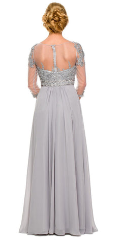 3/4 Length Sleeve Silver Formal Gown Illusion Neck Embroidery Back