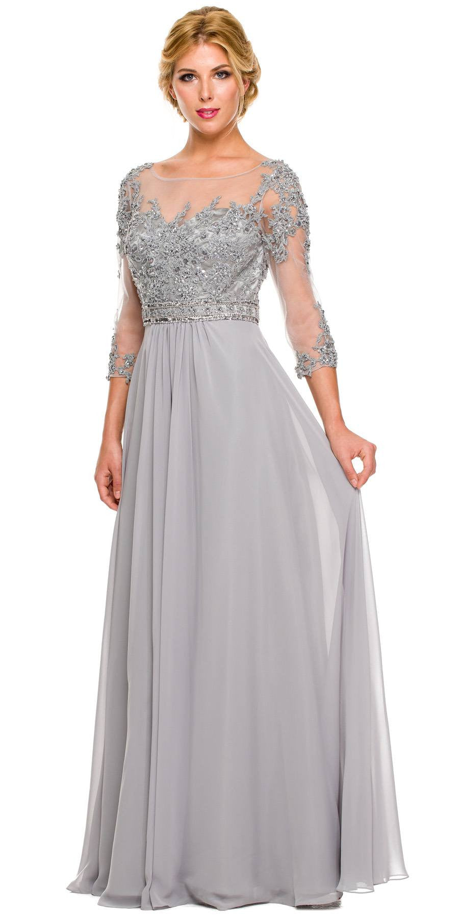 3/4 Length Sleeve Silver Formal Gown Illusion Neck Embroidery