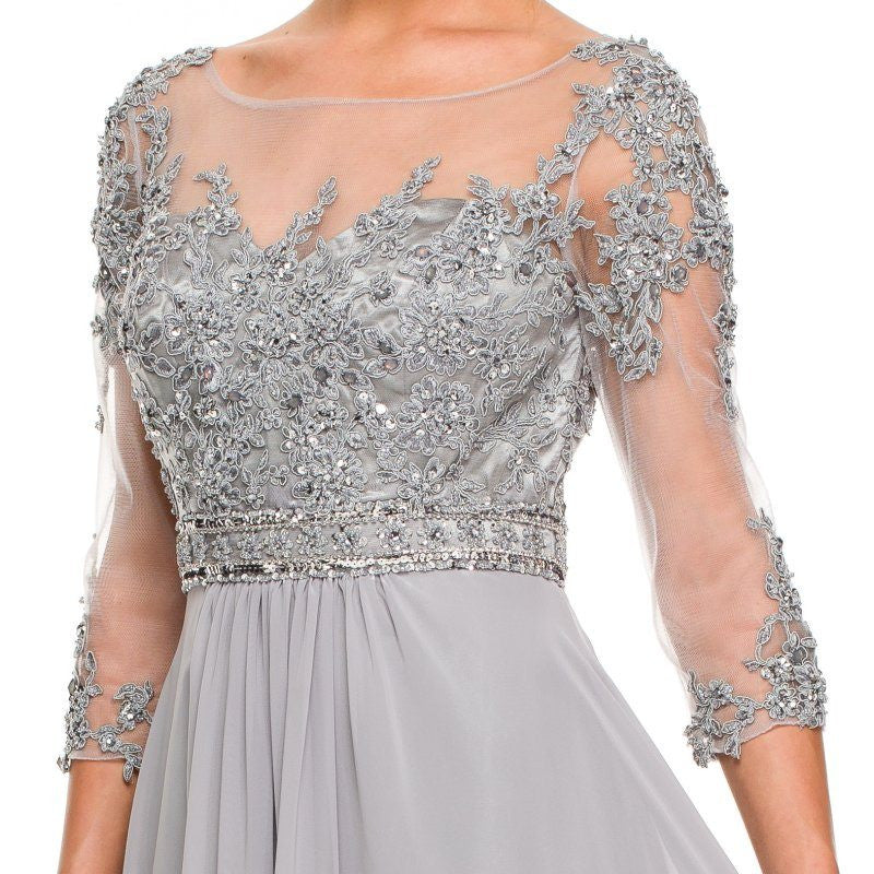 Zoom 3/4 Length Sleeve Silver Formal Gown Illusion Neck Embroidery