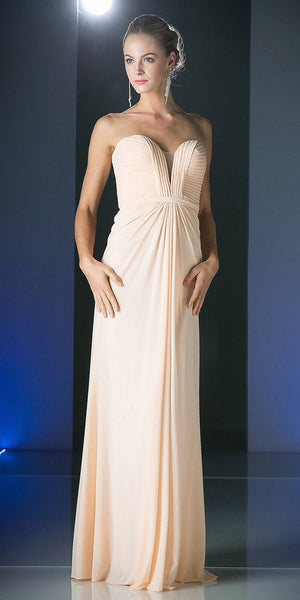 Cinderella Divine 601 Strapless Sweetheart Chiffon Semi Formal Dress Blush Long