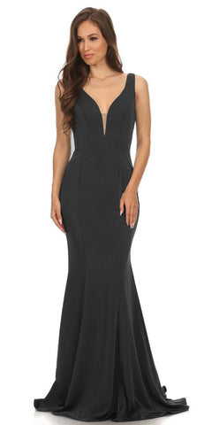 Plunging V-Neck Floor Length Mermaid Prom Dress Black