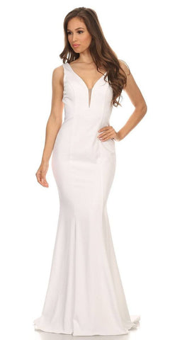 Plunging V-Neck Floor Length Mermaid Prom Dress Off White