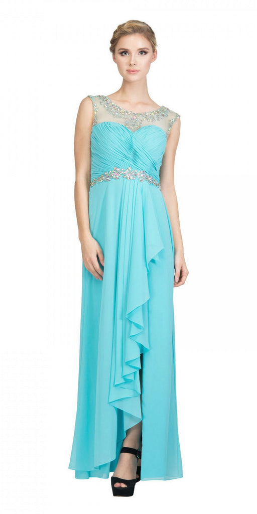 Cap Sleeve Chiffon Blush Formal Gown Bateau Neck Front Slit