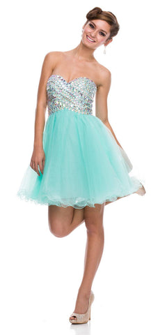 Sweetheart Neckline Strapless Short Prom Dress Rhinestone Bodice Mint