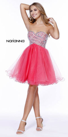 Sweetheart Neckline Strapless Short Prom Dress Rhinestone Bodice Watermelon