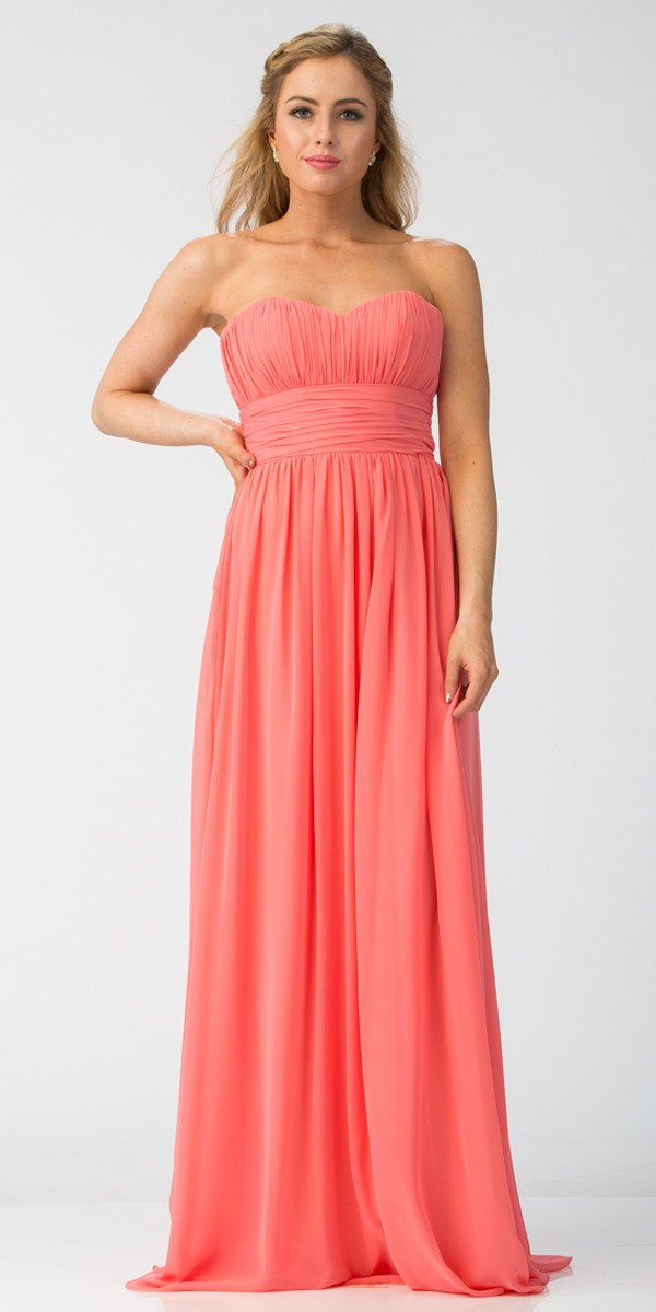 62c3854d9a0d Starbox USA 6011-1 Coral Bridesmaid Dress A Line Long Chiffon Sweetheart ...