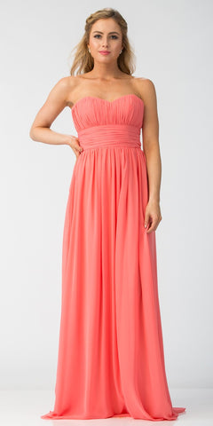 Starbox USA 6011-1 Coral Bridesmaid Dress A Line Long Chiffon Sweetheart