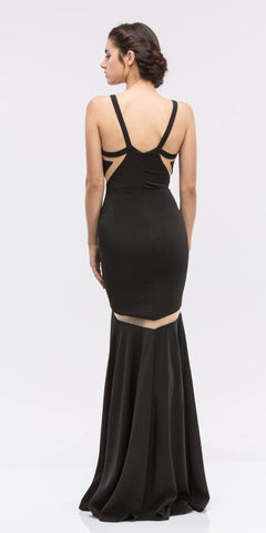 Sleeveless Trumpet Prom Gown with Sheer Panels Black
