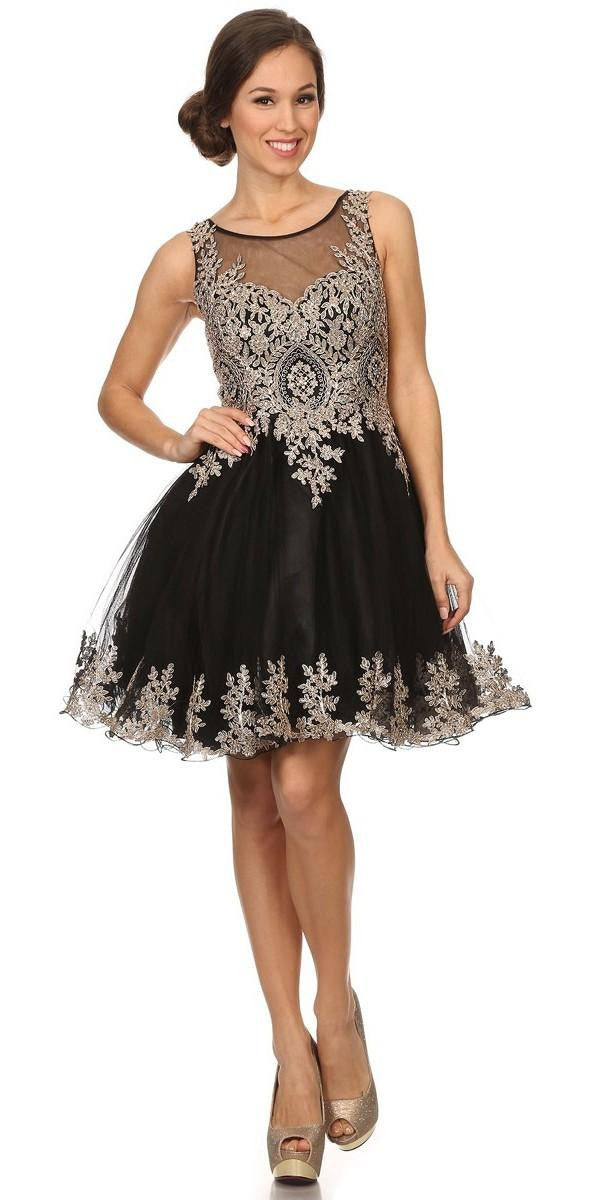 04b93e21c8d ... Black Mesh Short Homecoming Dress with Appliqued Bodice and Hem ...