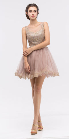 Mocha Mesh Short Homecoming Dress with Appliqued Bodice and Hem