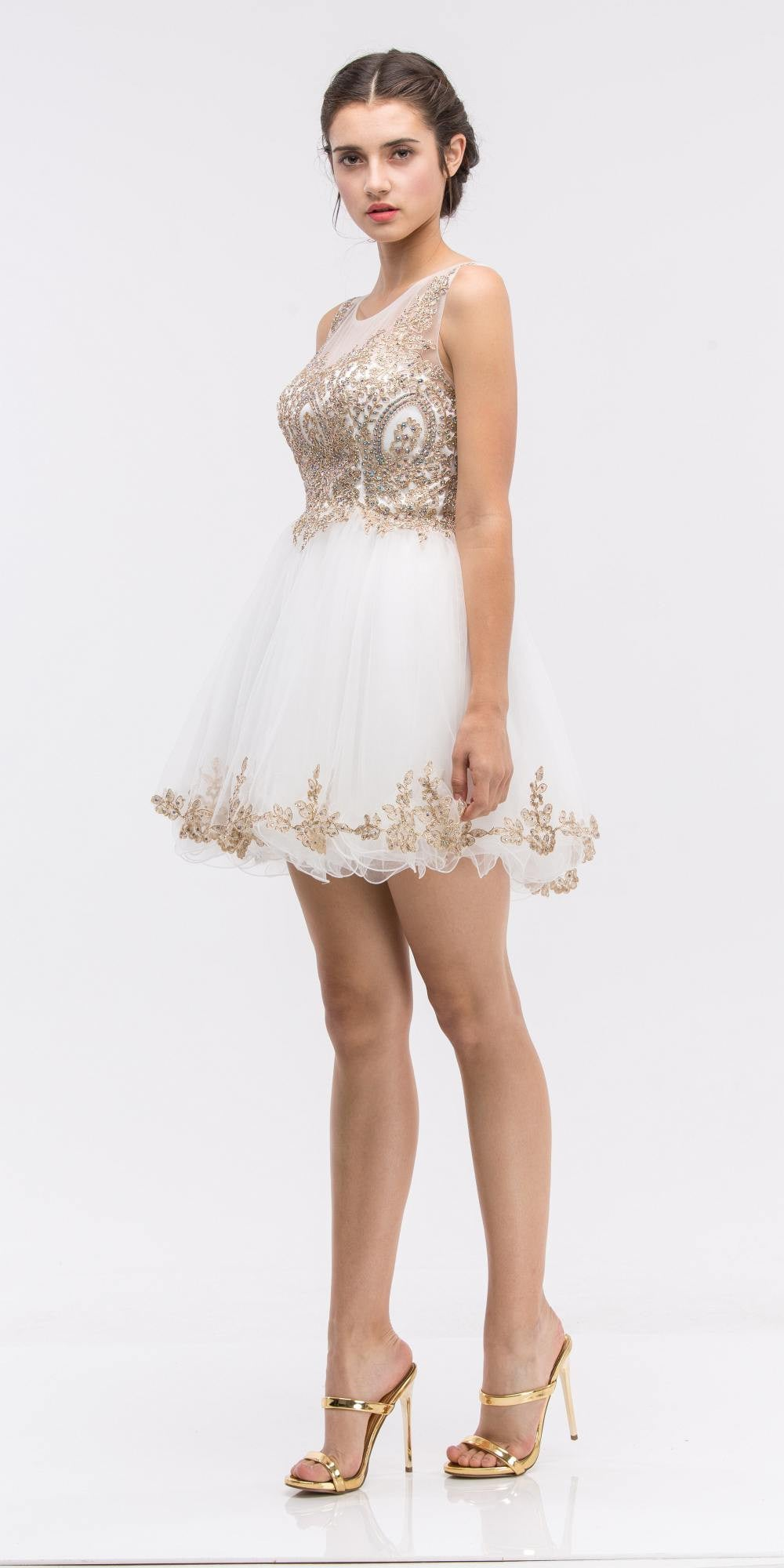 77e8905b8d6 ... Ivory Mesh Short Homecoming Dress with Appliqued Bodice and Hem 1 ...