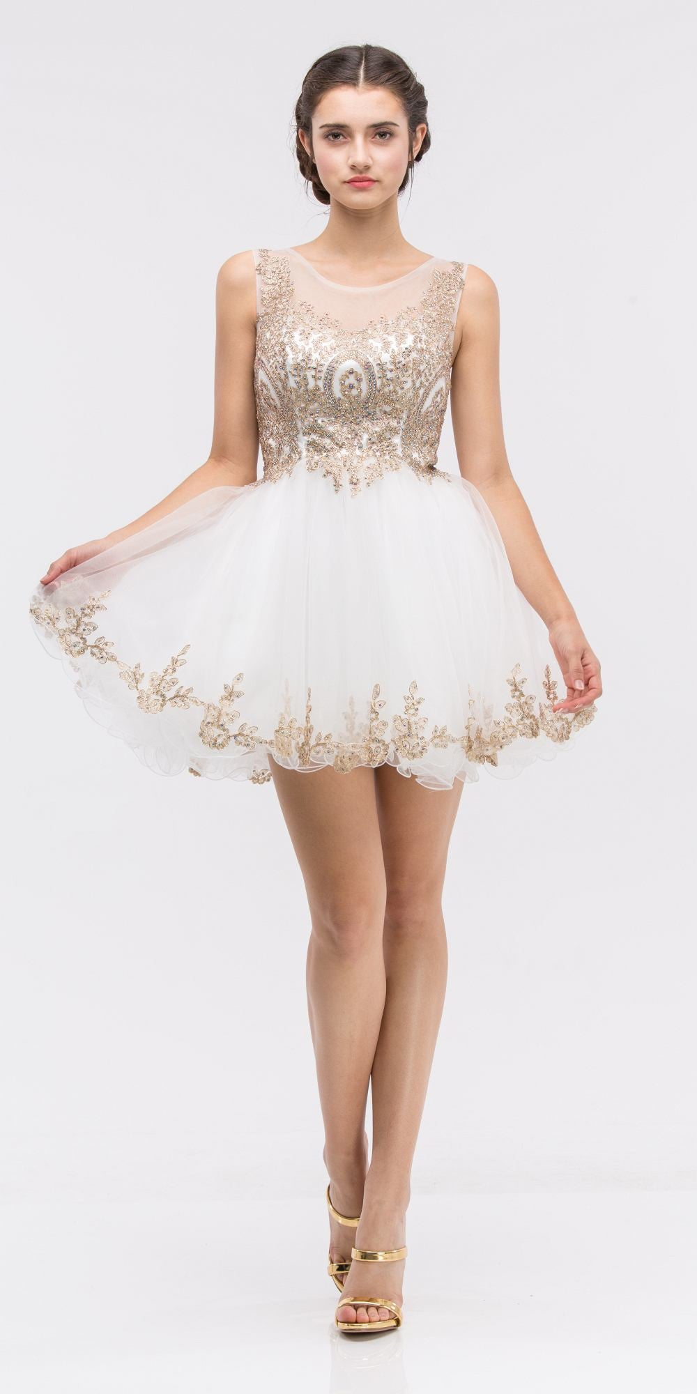 a47b3a356f7 ... Ivory Mesh Short Homecoming Dress with Appliqued Bodice and Hem ...