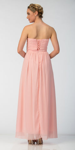 Starbox USA 6013-1 Chiffon Front Slit Long Bridesmaid Gown Blush Strapless Back View