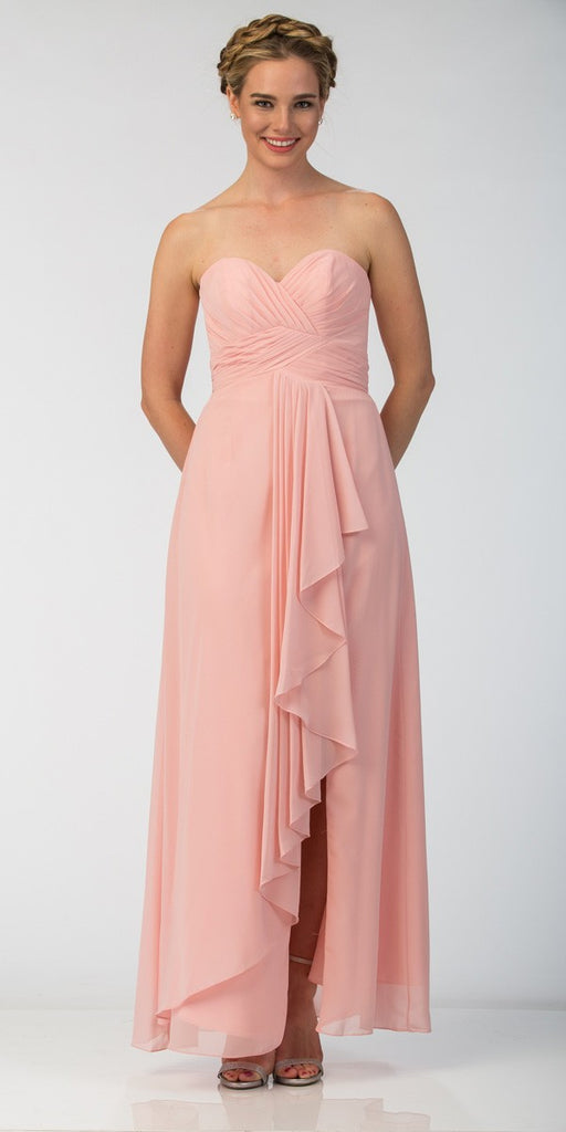 Starbox USA 6013-1 Chiffon Front Slit Long Bridesmaid Gown Blush Strapless