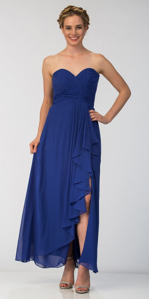Starbox USA 6013-1 Chiffon Front Slit Long Bridesmaid Gown Royal Blue Strapless