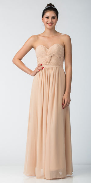 Starbox USA 6014-1 Chiffon Strapless Champagne Beach Wedding Bridesmaid Dress