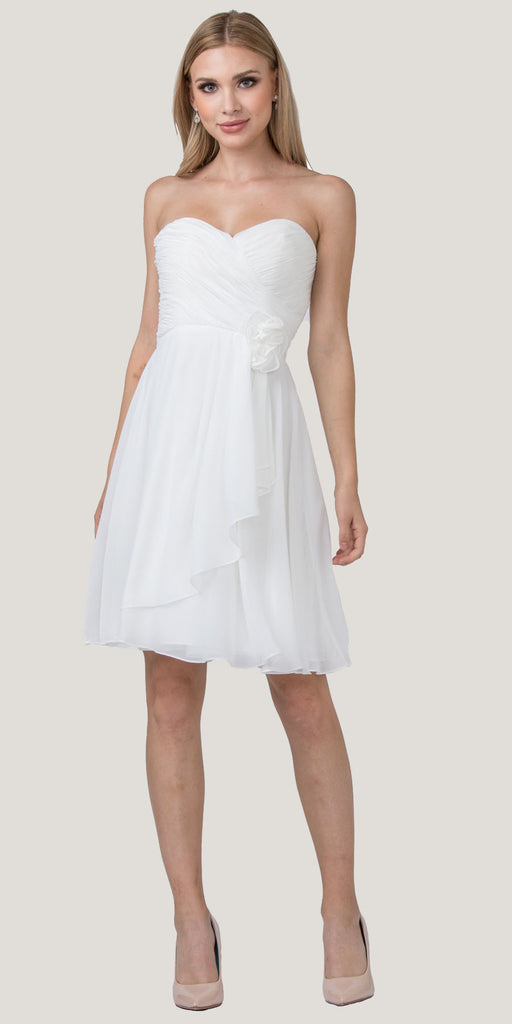 Starbox USA 6015-1 Off White Chiffon Beach Wedding Dress Knee Length Strapless